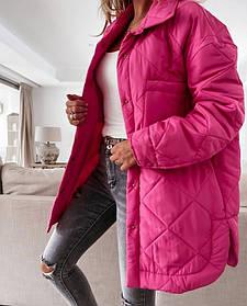 Женская куртка-рубашка из плащевки малиновая SKL11-290227