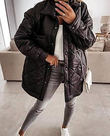 Женская куртка-рубашка из плащевки черная SKL11-290229
