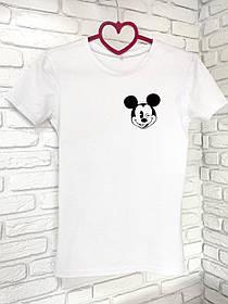 Жіноча футболка бавовна біла з принтом Mickey Mouse міккі маус SKL59-259643