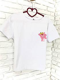 Жіноча футболка бавовна біла з принтом Pink panther Рожева пантера SKL59-259659