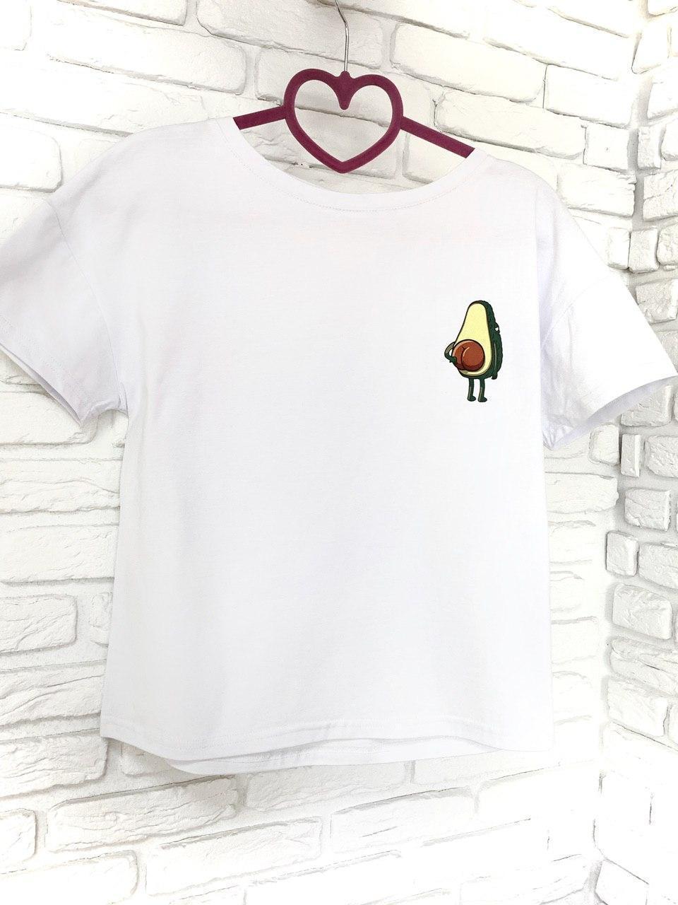 Женская футболка хлопок белая с принтом Авокадо Avocado SKL59-259658