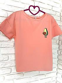 Жіноча футболка бавовна рожева з принтом Avocado авокадо SKL59-259666
