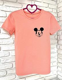 Жіноча футболка бавовна рожева з принтом Mickey Mouse міккі маус SKL59-259641