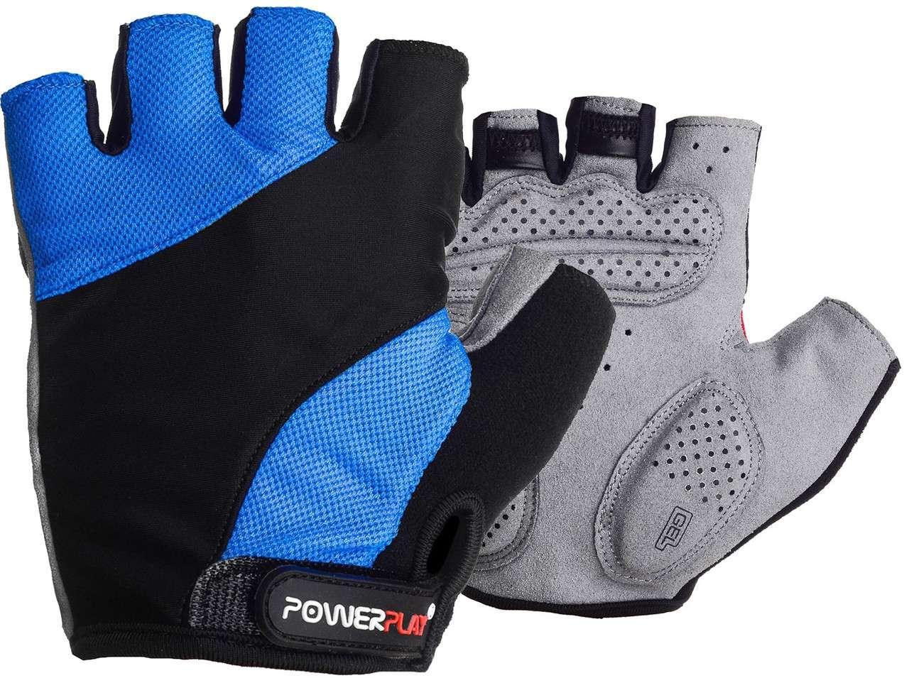 Велорукавички PowerPlay 5041 B Чорно-блакитні L SKL24-144553