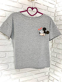 Жіноча футболка бавовна сіра з принтом Mickey Mouse міккі маус Ox SKL59-259663
