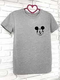 Жіноча футболка бавовна сіра з принтом Mickey Mouse міккі маус SKL59-259642