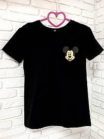 Жіноча футболка бавовна чорна з принтом Mickey Mouse міккі маус SKL59-259640