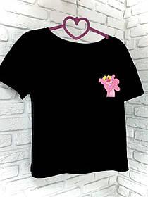 Жіноча футболка бавовна чорна з принтом Pink panther Рожева пантера SKL59-259661