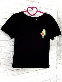 Жіноча футболка бавовна чорна з принтом Авокадо Avokado SKL59-259660