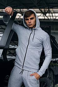 Кофта Чоловіча Cosmo спортивна толстовка з капюшоном сіра Подарунок SKL59-261310