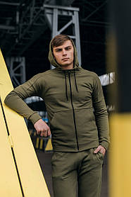 Кофта Мужская Cosmo спортивная хаки толстовка с капюшоном плюс Подарок SKL59-261298