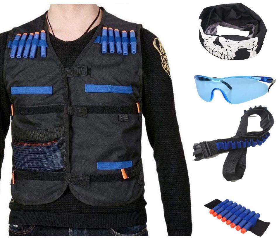 Бойовий набір для ігор зі зброєю Nerf жилет, бафф, окуляри, 20 куль, напульсник, патронташ SKL14-260967