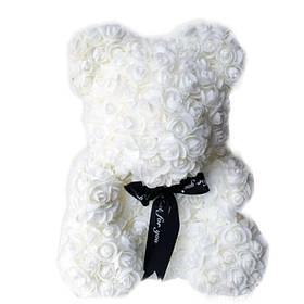 Мишко з штучних 3D троянд в подарунковій упаковці 25 см білий SKL11-140100