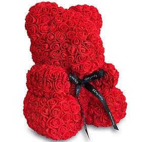 Мишко з штучних 3D троянд в подарунковій упаковці 40 см червоний SKL11-140102