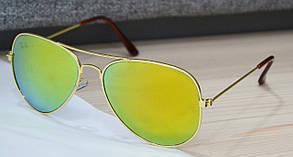 Солнцезащитные очки капли Ray Ban Aviator 3028 С3 54-19-137 Желтые