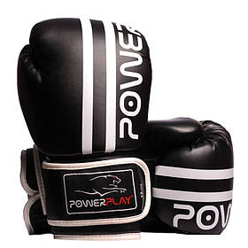 Боксерські рукавиці PowerPlay 3010 Чорно-Білі 16 унцій SKL24-144001