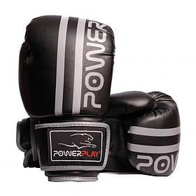 Боксерські рукавиці PowerPlay 3010 Чорно-Сірі 8 унцій SKL24-143714