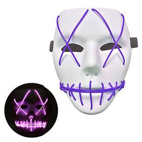 Неоновая Маска для вечеринок с подсветкой Led Mask 1 Violet SKL25-149770