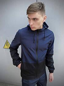 Чоловіча весняна куртка синьо-чорна SoftShell Light SKL59-259493