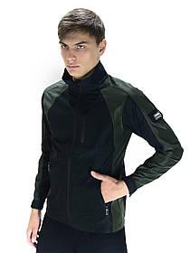 Чоловіча весняна куртка хакі-чорна SoftShell Lite iForce SKL59-259526