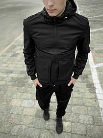 Чоловіча весняна куртка, вітровка чорна Sprinter SKL59-259552