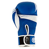Боксерські рукавиці PowerPlay 3023 A Синьо-Білі, натуральна шкіра 16 унцій SKL24-144046, фото 9