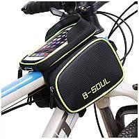 Велосипедна сумка B-Soul з відділенням для телефону на раму Green