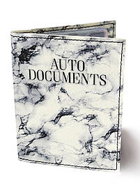 Обкладинка для автодокументів DM 0202 білий Мармур біла SKL47-176539