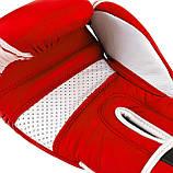 Боксерські рукавиці PowerPlay 3023 A Червоно-Білі, натуральна шкіра 16 унцій SKL24-144049, фото 9