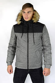 Куртка чоловіча зимова сіра-чорна Аляска і Рукавички SKL59-259596