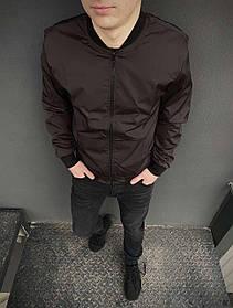 Бомбер коричневый мужской весенний SKL59-259532