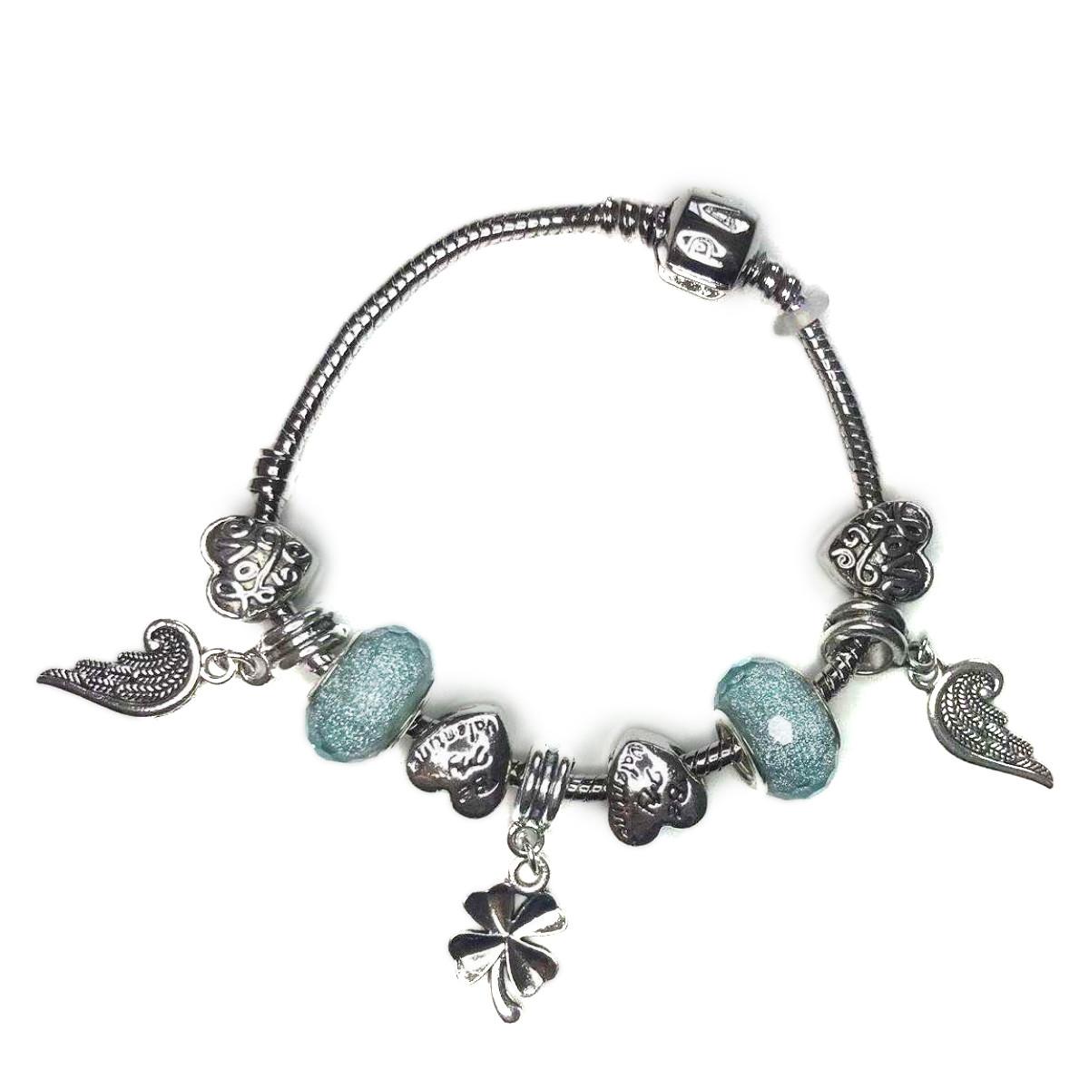 Браслет нежно голубой с крыльями SKL11-238148