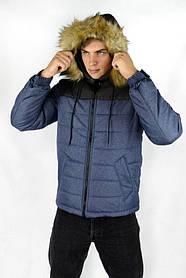 Куртка чоловіча зимова синя-чорна Аляска і Рукавички SKL59-259597