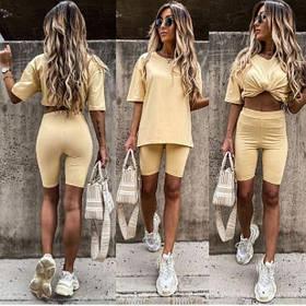 Жіночий костюм з футболкою і велосипедками бананового кольору SKL11-293727
