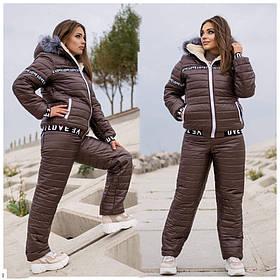 Женский лыжный костюм на меху батал SKL11-279625