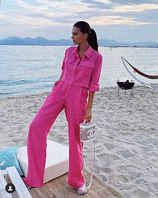 Жіночий лляний костюм рожевий SKL11-292080