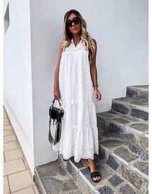 Жіночий сарафан довгий білого кольору розмір батал SLK11-291104