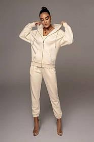Жіночий спортивний костюм трійка бежевий SKL11-289828