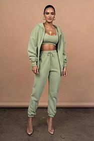 Жіночий спортивний костюм трійка оливковий SKL11-289829