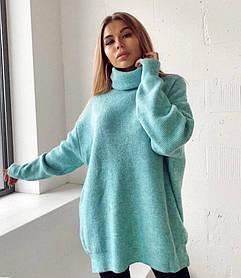 Женский удлинённый свитер под горло бирюзовый SKL11-280460