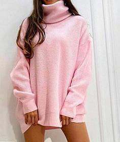 Женский удлинённый свитер под горло розовый SKL11-280461