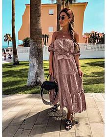 Женское длинное платье резинка цвет пудра SKL11-291425