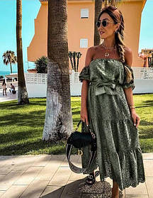 Жіноче довге плаття гумка колір хакі SKL11-291409