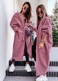 Женское кашемировое пальто пудра темная батал SKL11-290599