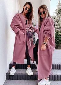 Жіноче кашемірове пальто темна пудра батал SKL11-290599