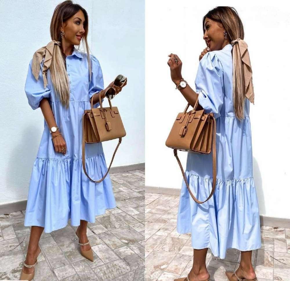 Жіноче котоновое сукня блакитне міді SKL11-289441