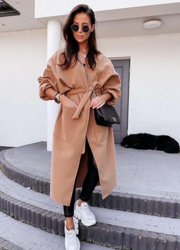Пальто жіноче кэмэл батал SKL11-290324