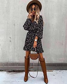 Жіноче плаття в квіточку чорне SKL11-290184