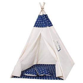 Детская палатка вигвам Springos Tipi Xxl White/Blue SKL41-277684