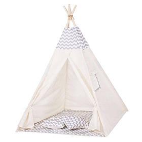 Детская палатка вигвам Springos Tipi Xxl White/Grey SKL41-277679